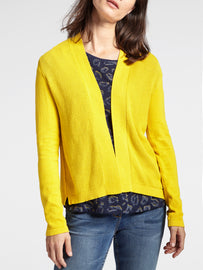 Open-fit cardigan with rib-knit details -Mimosa