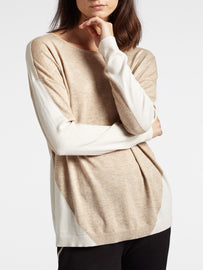 Sweater in a fine knit in two colours  -Faded-Sand
