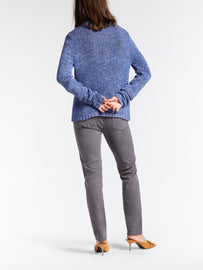 Multicoloured cardigan with a button closure -Signal Blue