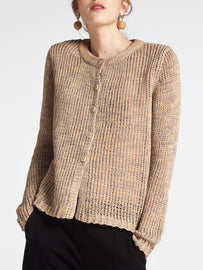 Multicoloured cardigan with a button closure -Camel-Beige