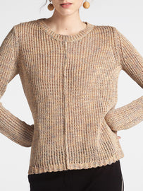 Mixed sweater -Camel-Beige
