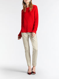 Sweater with diagonal rib structure -Red