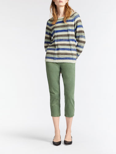 Knitted sweater with stripes -Washed Sage