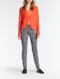 Open-fit fine-knit cardigan -Coral