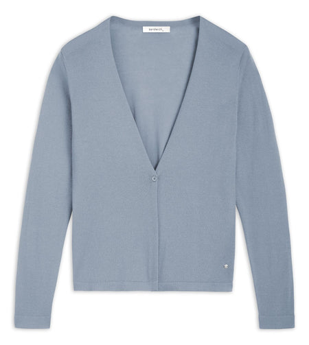 Open-fit fine-knit cardigan -Ashley Blue