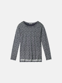 Essential long sleeve with all-over print - Dark Sapphire