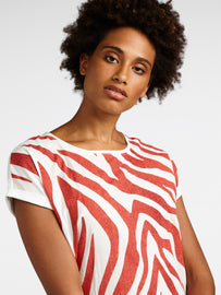 T-shirt with zebra print - Burned Red