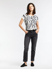 T-shirt with zebra print - Almost Black