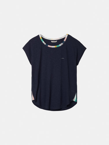 T-shirt with multicoloured rib-knit piping - Navy