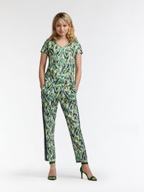 Top with leaf print and tie detail - Jolly Green