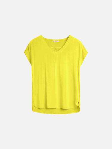 T-shirt with rounded V-neck - Blazing Yellow