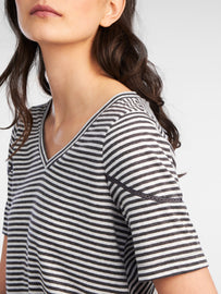 Striped T-shirt with openwork details - Anthra