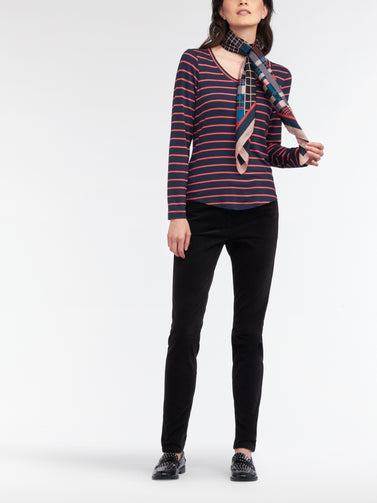 Long-sleeved top with stripes  -Deep Lagoon