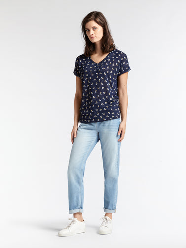 V-neck top with print -Navy