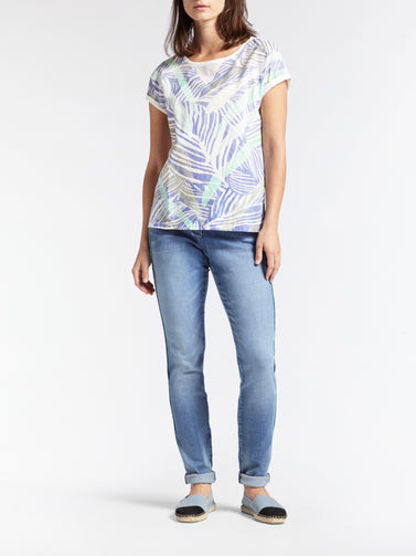 T-shirt with botanical print -Signal Blue