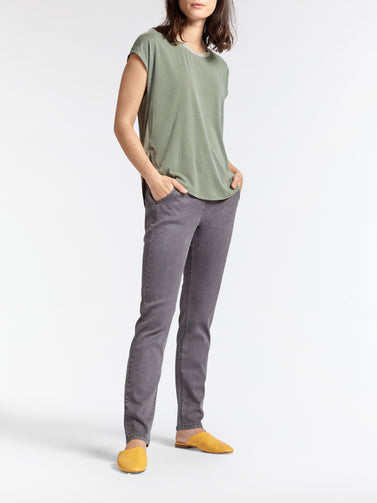 T-shirt with striped piping - Washed Sage
