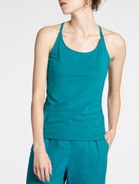 Tank top with thin straps -Deep Lake