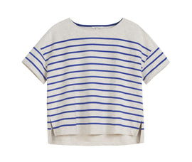 Striped T-shirt in sweatshirt fabric -Signal Blue