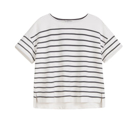 Striped T-shirt in sweatshirt fabric -Anthra