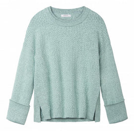 Knitted sweater with double neckline  -Aqua