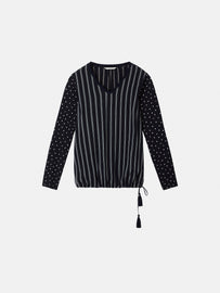 Dotted and striped top with drawstring tunnel - Dark Sapphire
