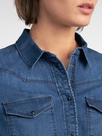 Denim shirt with tribal print  -Medium Blue Denim