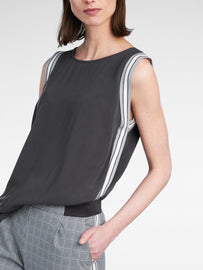 Sleeveless top with striped piping  -Anthra