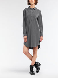Shirt dress with slit and button closure on the back - Winter Grey Heather