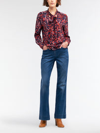 Paisley top with tie closure - Red Clay
