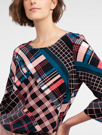Top with multicoloured plaid print  -Intense Pink