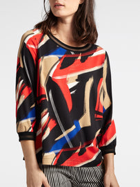 Colourful top with semi-transparent neckline  -Red