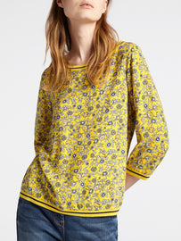 Top with floral print and striped details -Mimosa