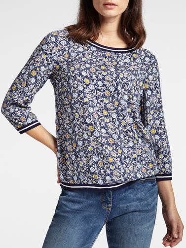 Top with floral print and striped details -Navy