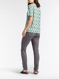 Woven T-shirt with print -Washed Sage