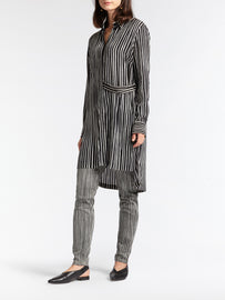 Tunic with hand-painted and irregular stripes  -Black