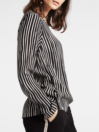 Top with hand-painted and irregular stripes  -Black