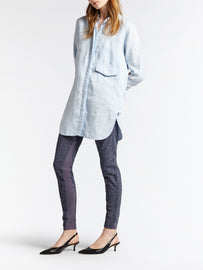 Long linen blouse -Sky High