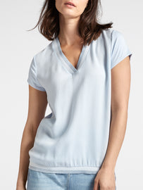 Blouse with V-neck -Sky High