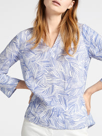 Linen blouse with organic print -Signal Blue