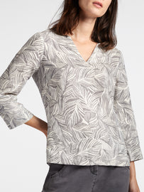 Linen blouse with organic print -Anthra