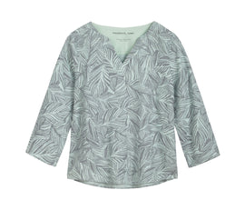 Linen blouse with organic print -True Mint