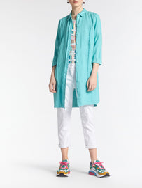 Long blouse with mesh details -Turquoise
