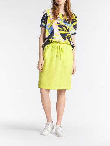 T-shirt with multicoloured all-over print -True Lime