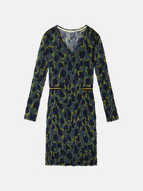 Contoured dress with animal print and crinkle effect - Deep Jade