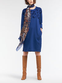 Sweater dress with paisley flock pattern - Merlin Blue HTR