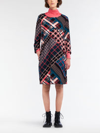 Dress with multicoloured plaid print  -Intense Pink