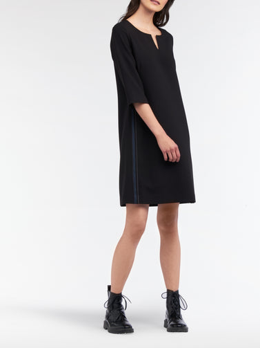 A-line dress with lurex and piping  -Black