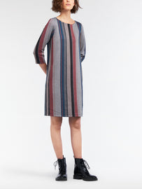 Striped jacquard dress -Intense Pink