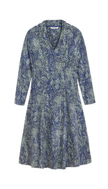 Tricot dress with print - Signal Blue