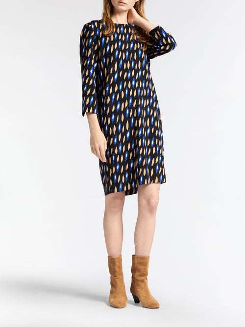 Dress with all our print and funky zipper  -Signal-Blue